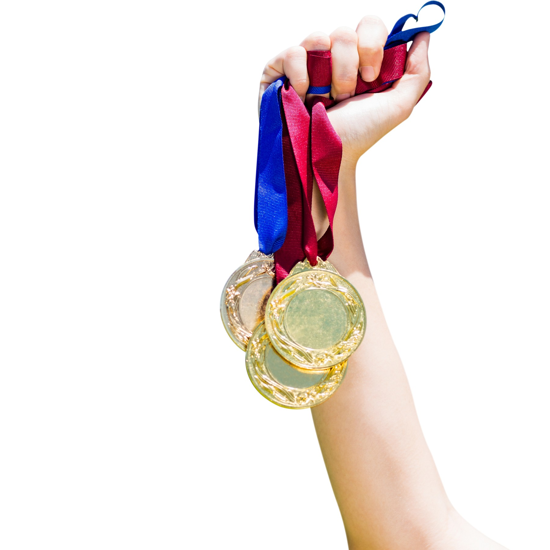 Hand holding three medals on white background, Image: 287922744, License: Royalty-free, Restrictions: , Model Release: yes, Credit line: Profimedia, Wavebreak
