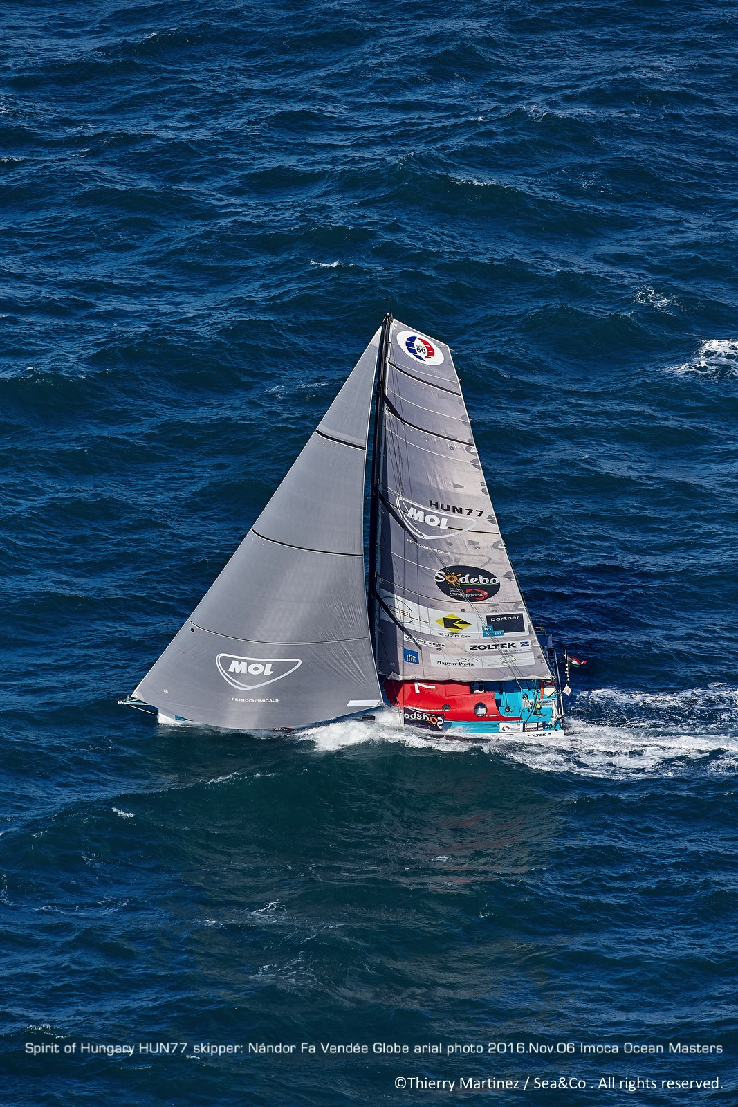 """16_80912 © Thierry Martinez / Sea&Co. LES SABLES D'OLONNE - FRANCE . 6 November 2016. Start of 8th Vendée Globe ( solo sailing race round the world non-stop without assistance). 29 Skippers on starting line. Nandor FA, skipper of """"SPIRIT OF HUNGUARY"""""""